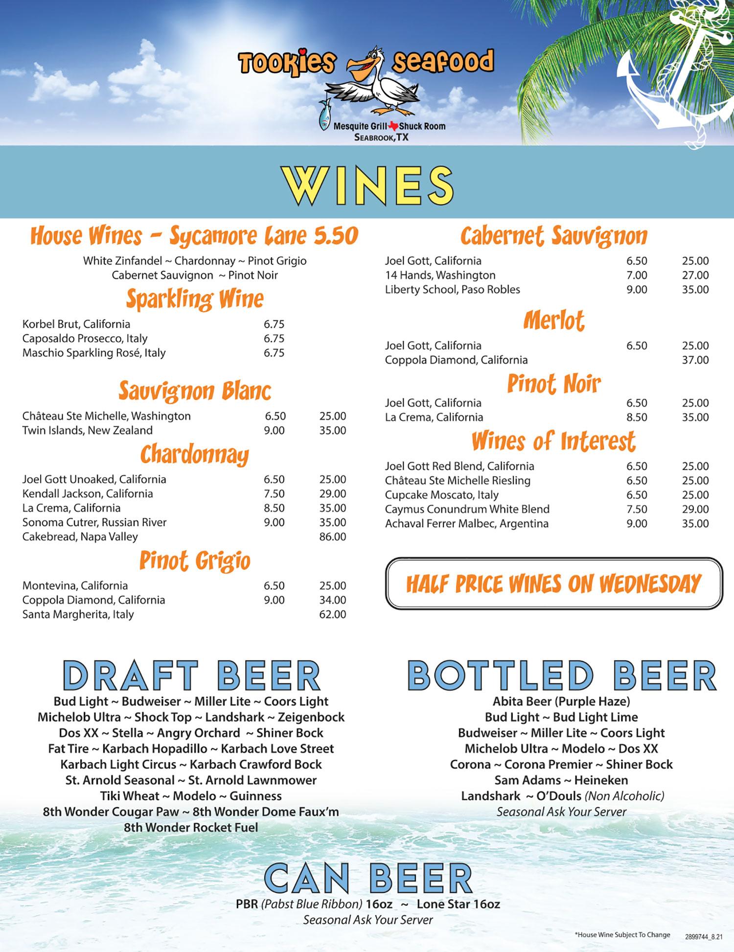 Tookie's Seafood Drink Menuand Wine List